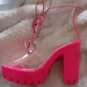 Hot pink platform heels FAshion nova